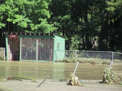 dugout at Greven Field, the day after Hurricane Irene