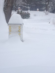 Beehives in winter under the snow