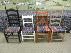 Weave a gorgeous and strong chair seat using old neckties! Just one of many classes at Fletcher Farm School in VT