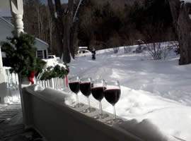 4 clear wine glasses each filled with red wine all lined up on cleared area of snow covered porch railing looking out into tree lined, very snowy yard