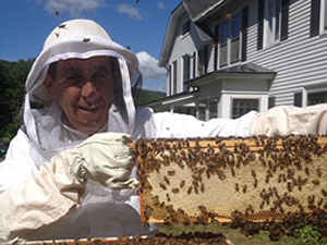 Man in a white bee suite holding a component of the bee hive with bees on it.