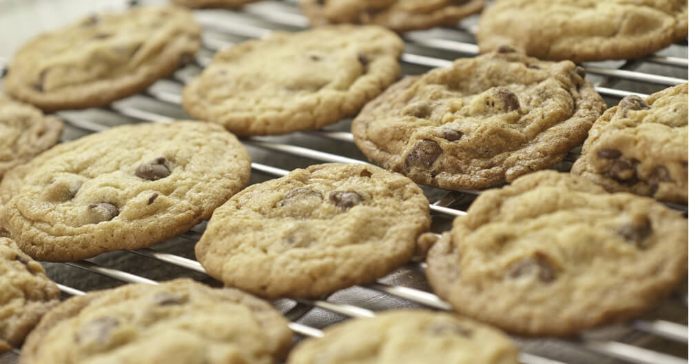 close up of many golden brown chocolate chip cookies lined up on wire cooling rack