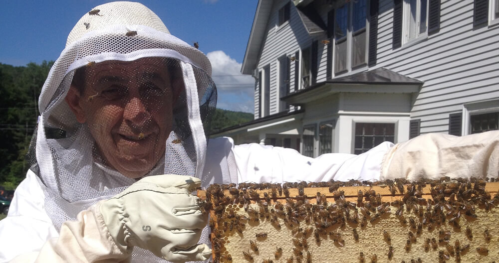 man in white protective suit holding honeycomb filled frame with bees flying around