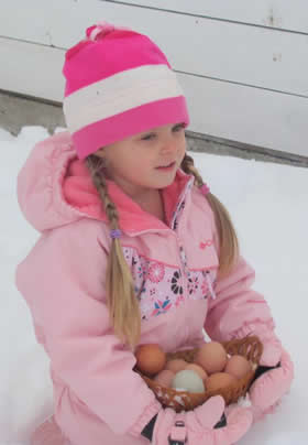 young girl with long braids in pink snowsuit and pink snow hat kneels in the snow holding a basket full of fresh eggs